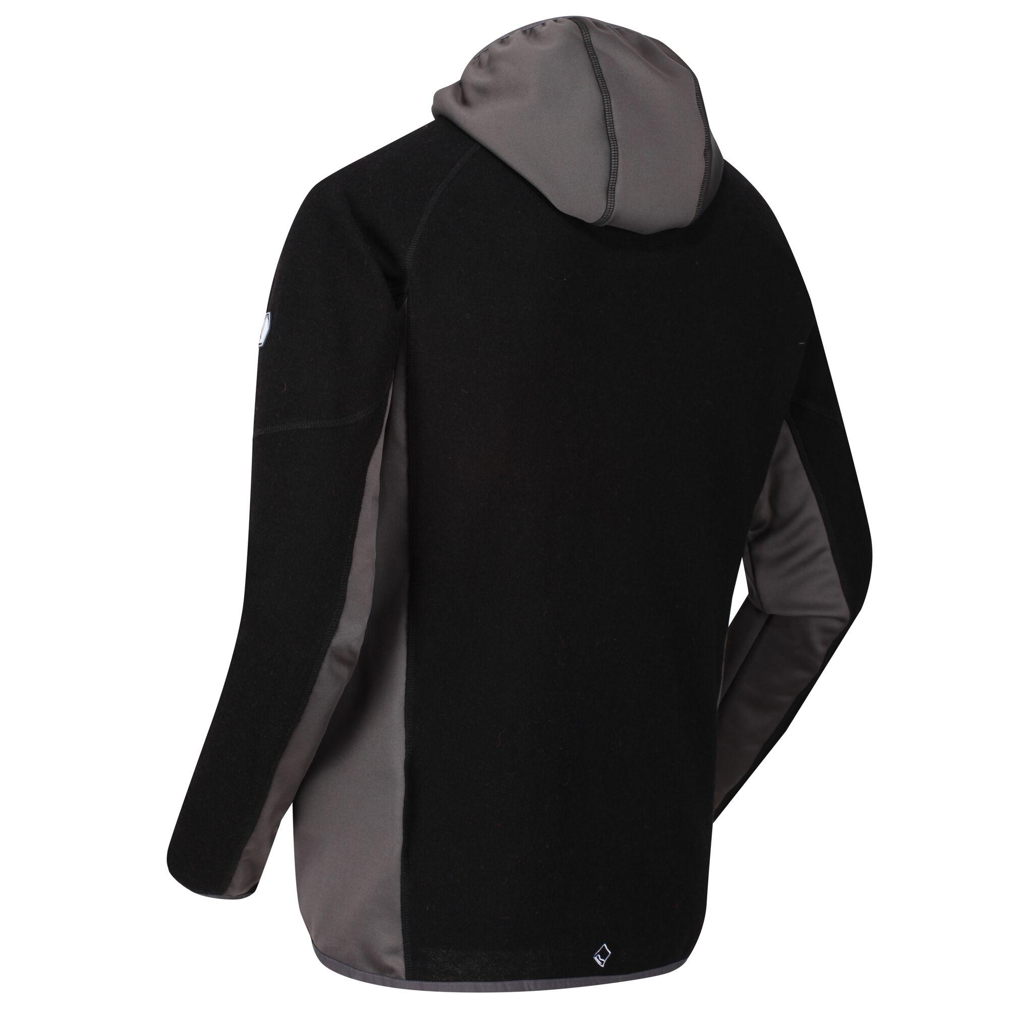 Regatta Men/'s Kinver Full Zip Hooded Stretch Fleece Black