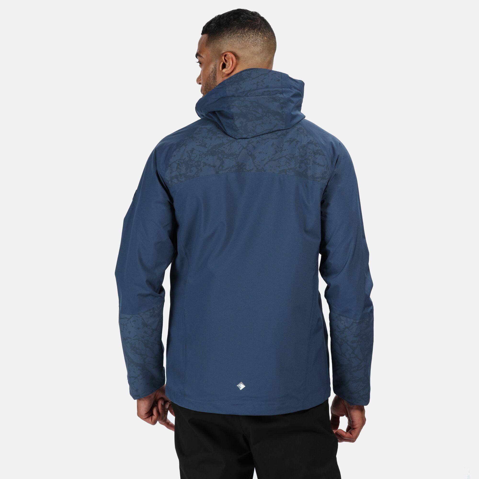 Regatta-Men-039-s-Oklahoma-V-Reflective-Waterproof-Hooded-Walking-Jacket-Blue thumbnail 7