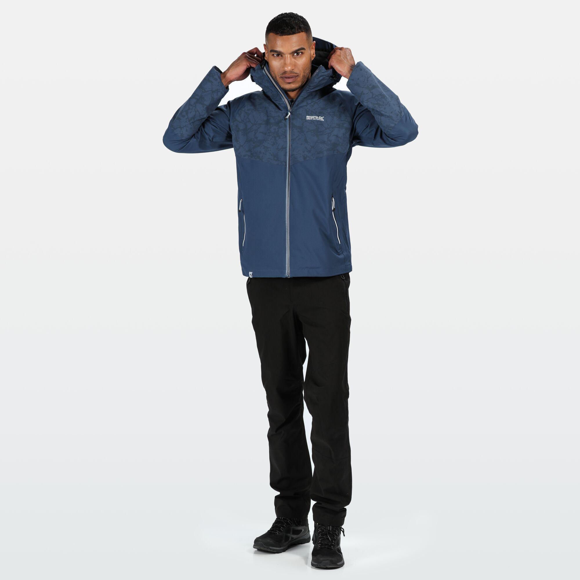 Regatta-Men-039-s-Oklahoma-V-Reflective-Waterproof-Hooded-Walking-Jacket-Blue thumbnail 8