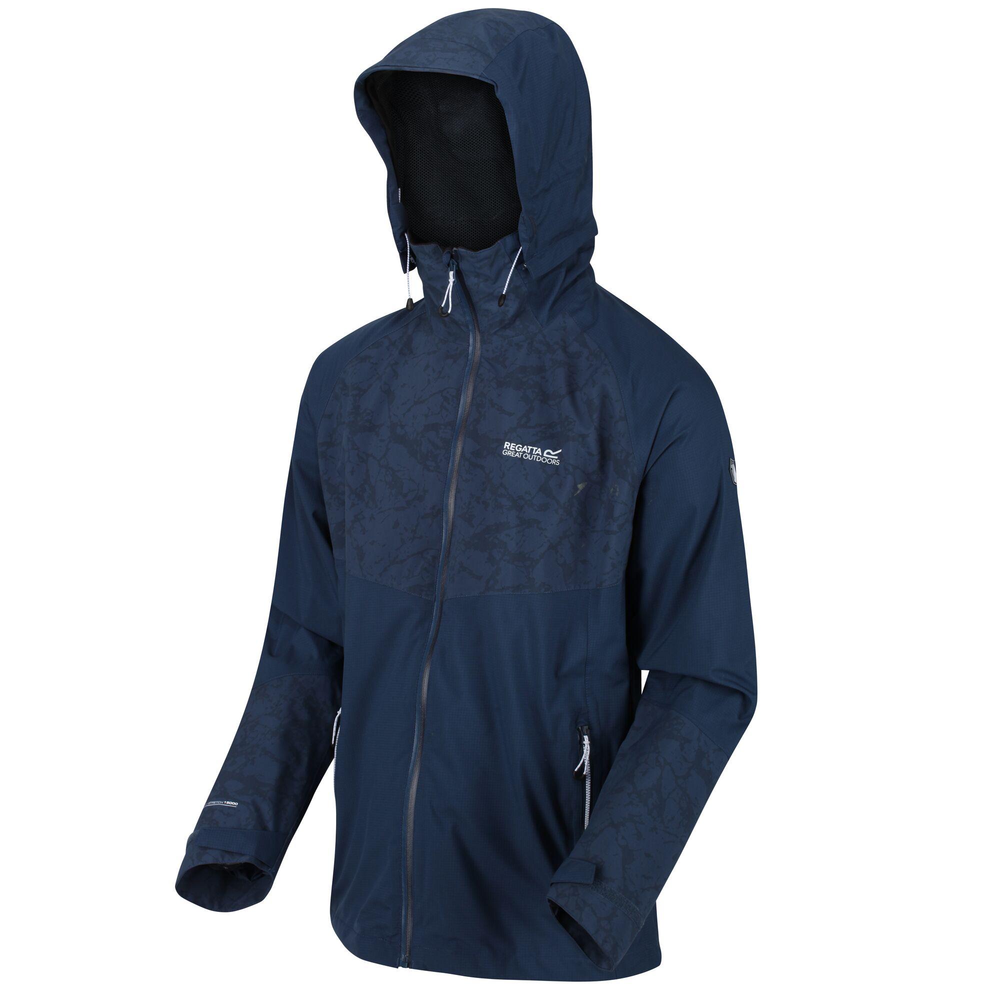 Regatta-Men-039-s-Oklahoma-V-Reflective-Waterproof-Hooded-Walking-Jacket-Blue thumbnail 9