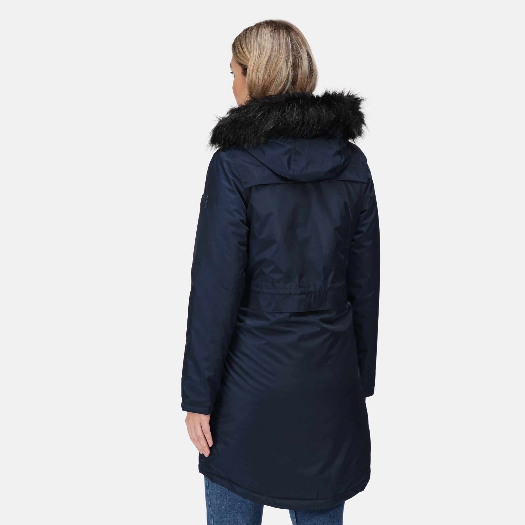 Regatta-Womens-Lexis-Waterproof-Insulated-Fur-Trim-Hood-Parka-Jacket-Blue-Navy thumbnail 8