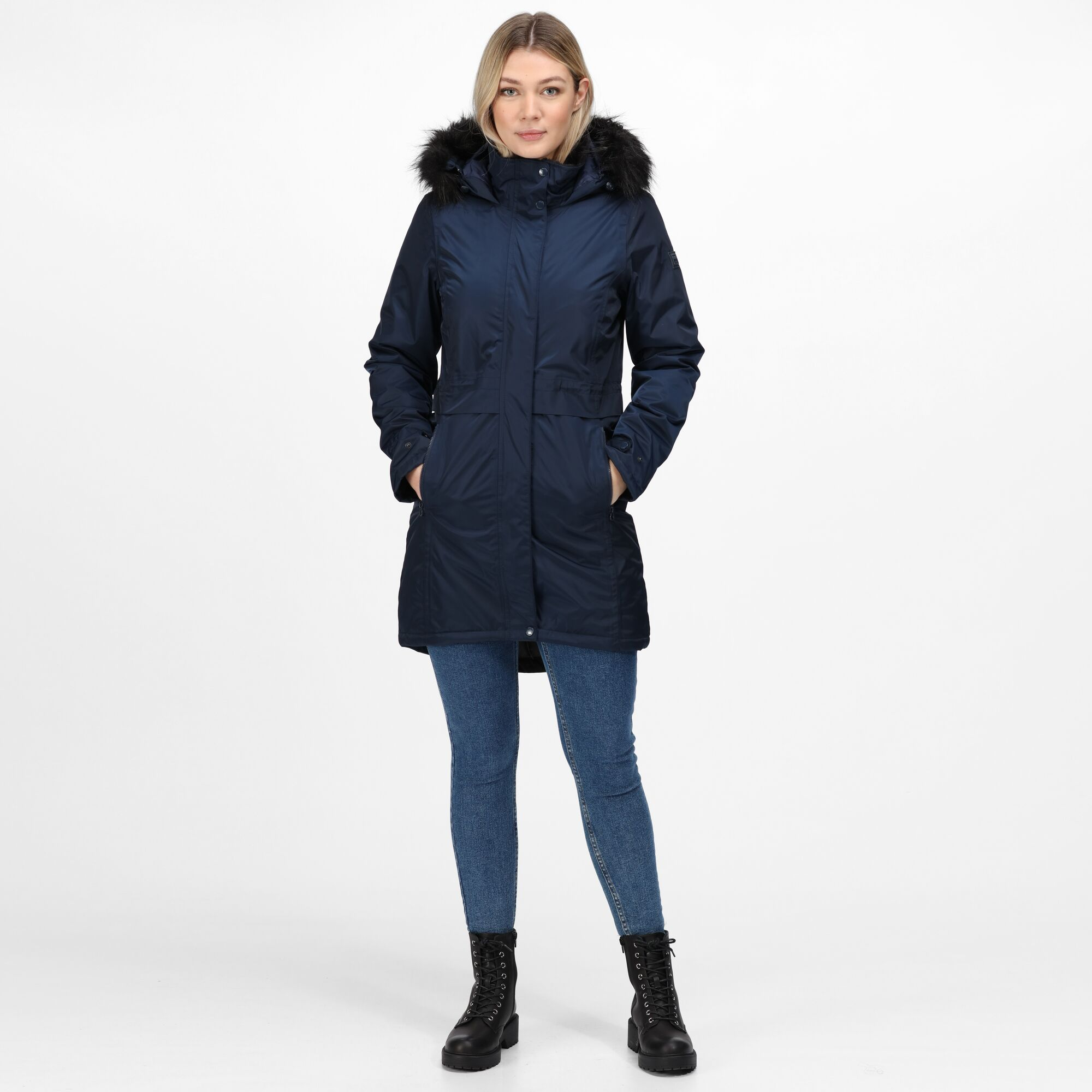 Regatta-Womens-Lexis-Waterproof-Insulated-Fur-Trim-Hood-Parka-Jacket-Blue-Navy thumbnail 9