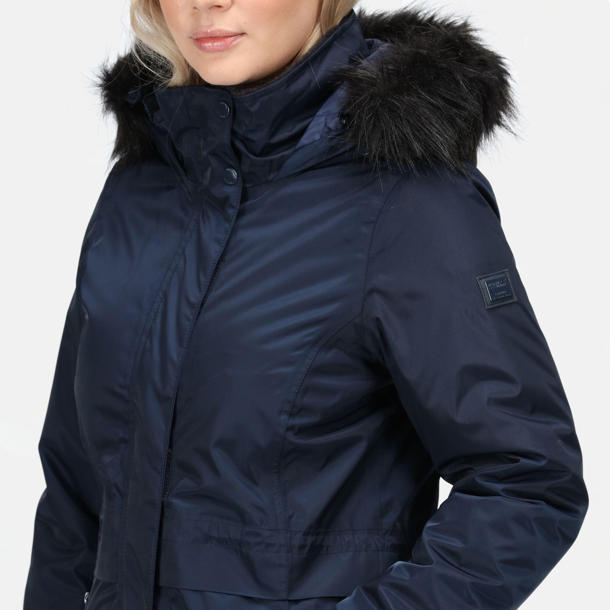 Regatta-Womens-Lexis-Waterproof-Insulated-Fur-Trim-Hood-Parka-Jacket-Blue-Navy thumbnail 10