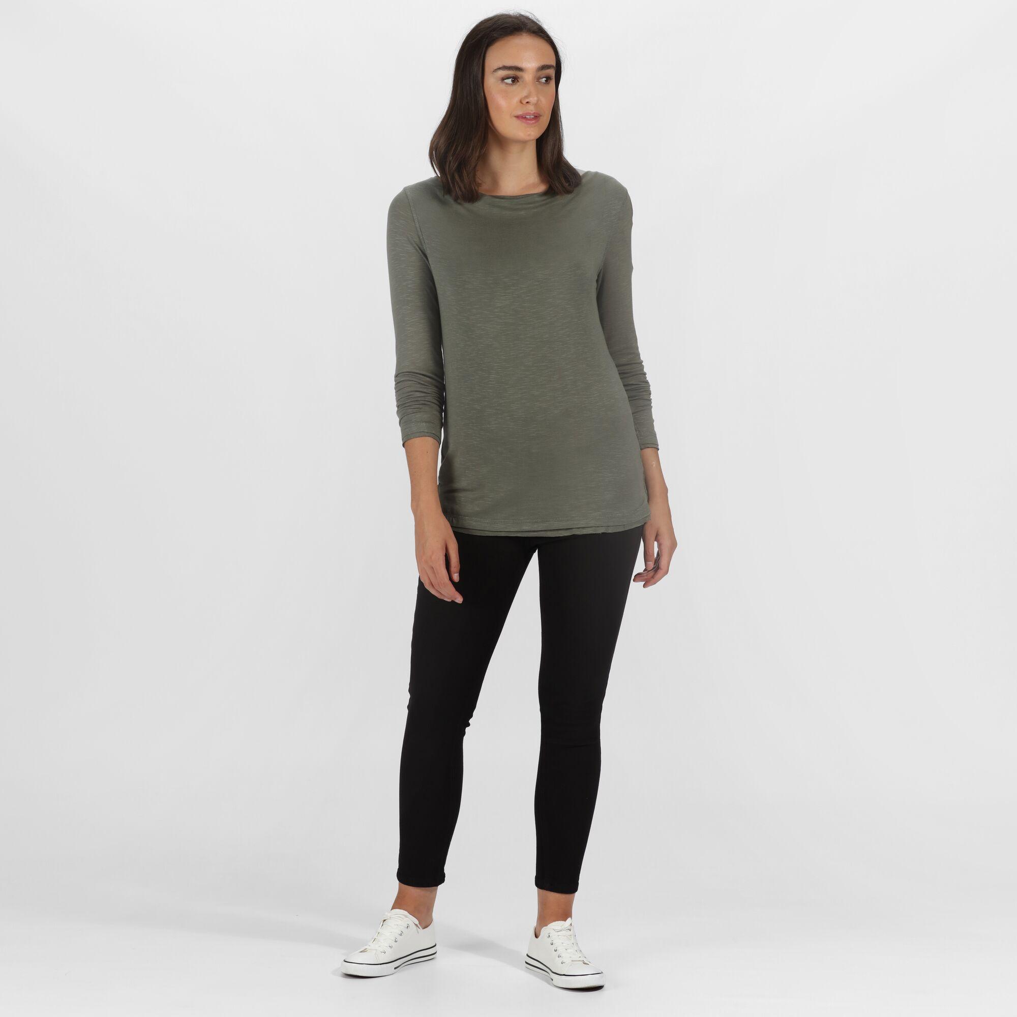 Regatta Women/'s Frayler Long Sleeved T-Shirt Green